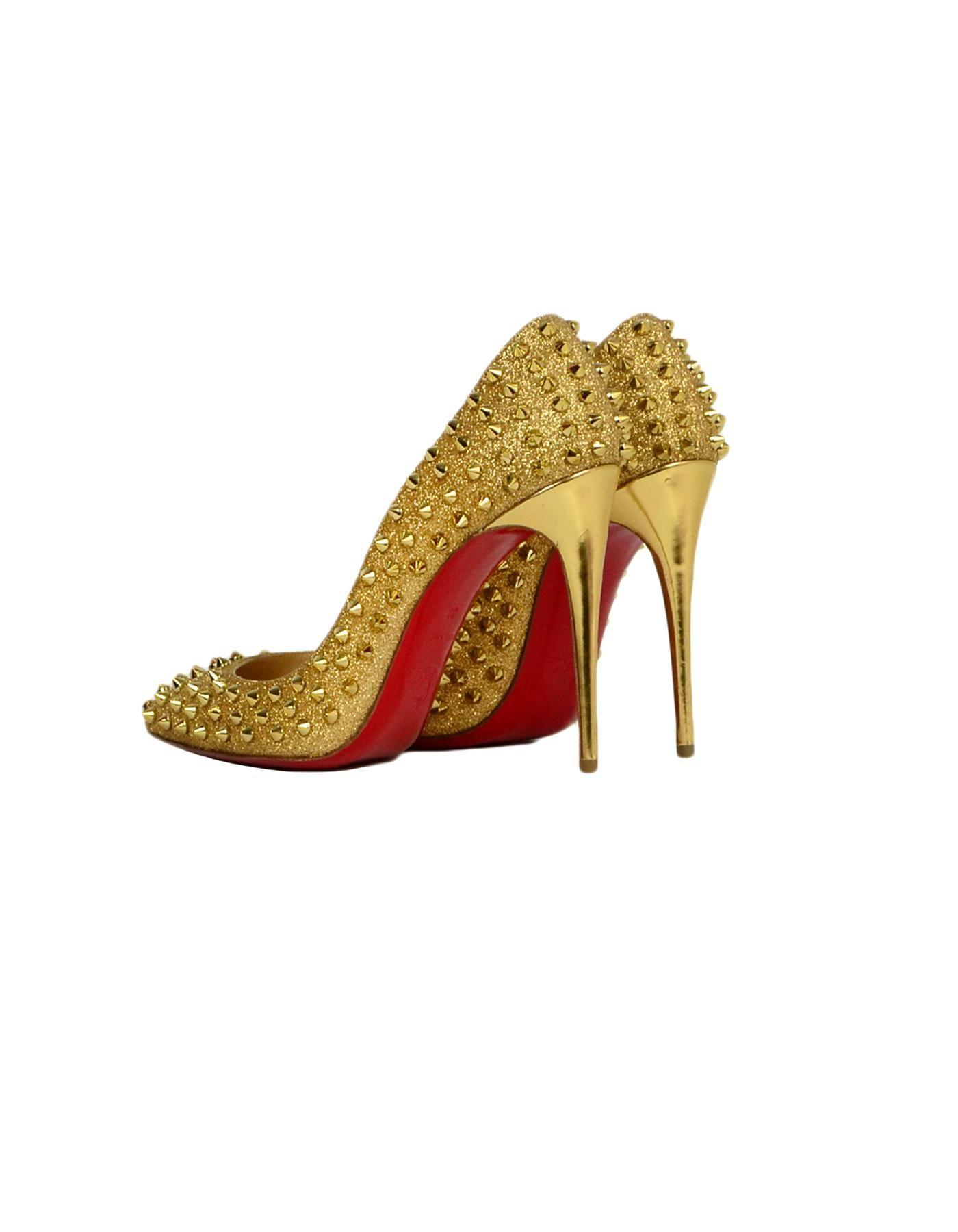 best service 0a961 bb10b Christian Louboutin Gold Glitter Pigalle Follies 120 Spike-Studded Pumps sz  39