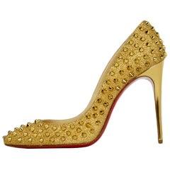 Christian Louboutin Gold Glitter Pigalle Follies 120 Spike-Studded Pumps sz 39