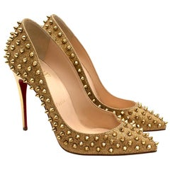 Christian Louboutin Gold Glitter Pigalle Studded Pumps 38
