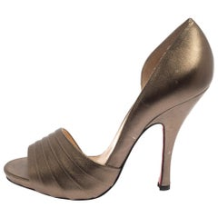 Christian Louboutin Gold Leather Armadillo Peep Toe D'orsay Pumps Size 38.5
