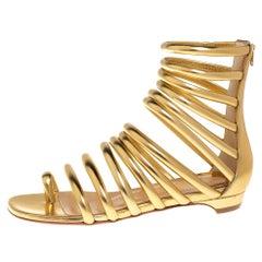 Christian Louboutin Gold Leather Catchetta Gladiator Flat Sandals Size 36