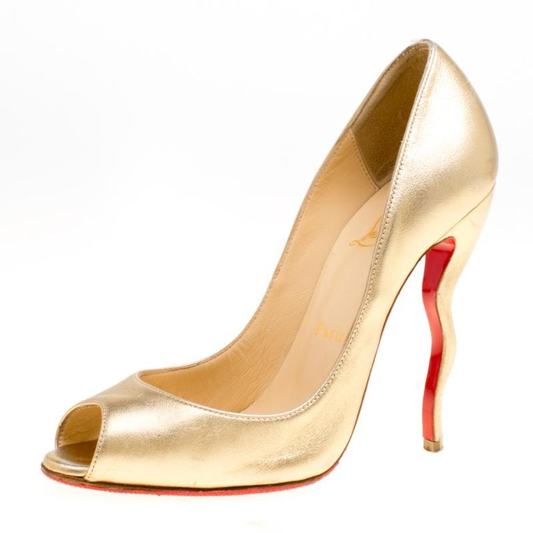 454c4b1c69c6 Christian Louboutin Gold Leather Jolly Squiggle Heel Peep Toe Pumps Size 37  For Sale