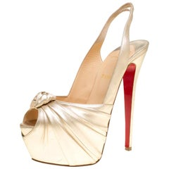 Christian Louboutin Gold Leather Miss Benin Knotted Platform Slingback Sandals S
