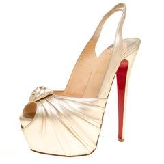 Christian Louboutin Gold Leather Miss Benin Knotted Platform Slingback Sandals S