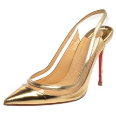 Christian Louboutin  Gold Patent Leather and PVC Slingback Pumps Size 37.5