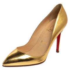 Christian Louboutin Gold Patent Leather Pigalle Pumps Size 38