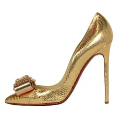"Christian Louboutin Gold Python ""Metal Nodo"" Crystal Bow Pigalle Heel Pumps sz38"