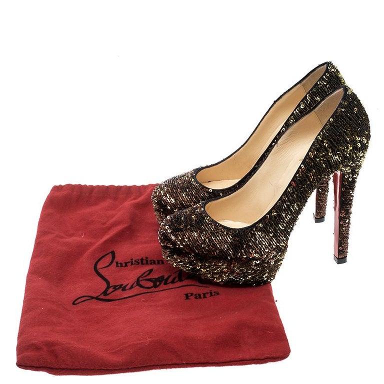 Christian Louboutin Gold Sequins Bianca Platform Pumps Size 36.5 For Sale 3