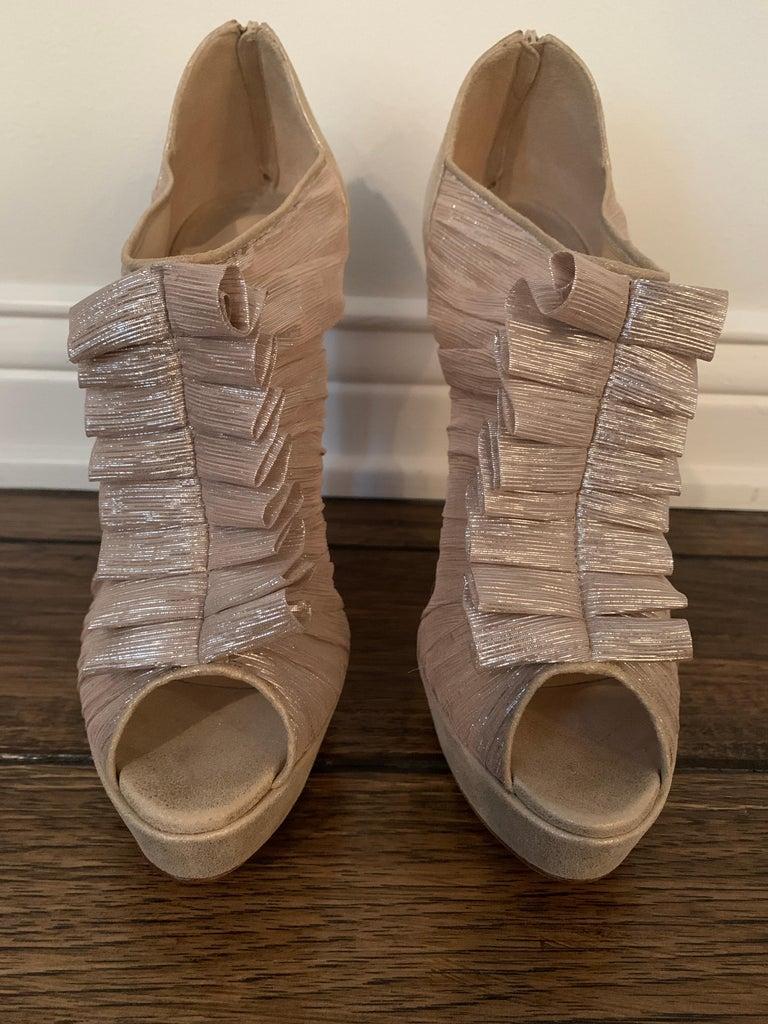 Christian Louboutin Gold Silk Ruffle Stiletto Heels Size 40  For Sale 1