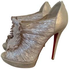 Christian Louboutin Gold Silk Ruffle Stiletto Heels Size 40