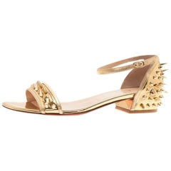 Christian Louboutin Gold Spiked Leather Druide Sandals Size 38