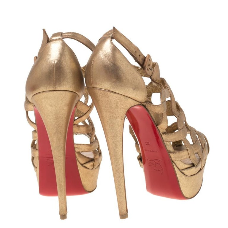 Brown Christian Louboutin Gold Strappy Leather Ankle Strap Platform Sandals Size 39 For Sale