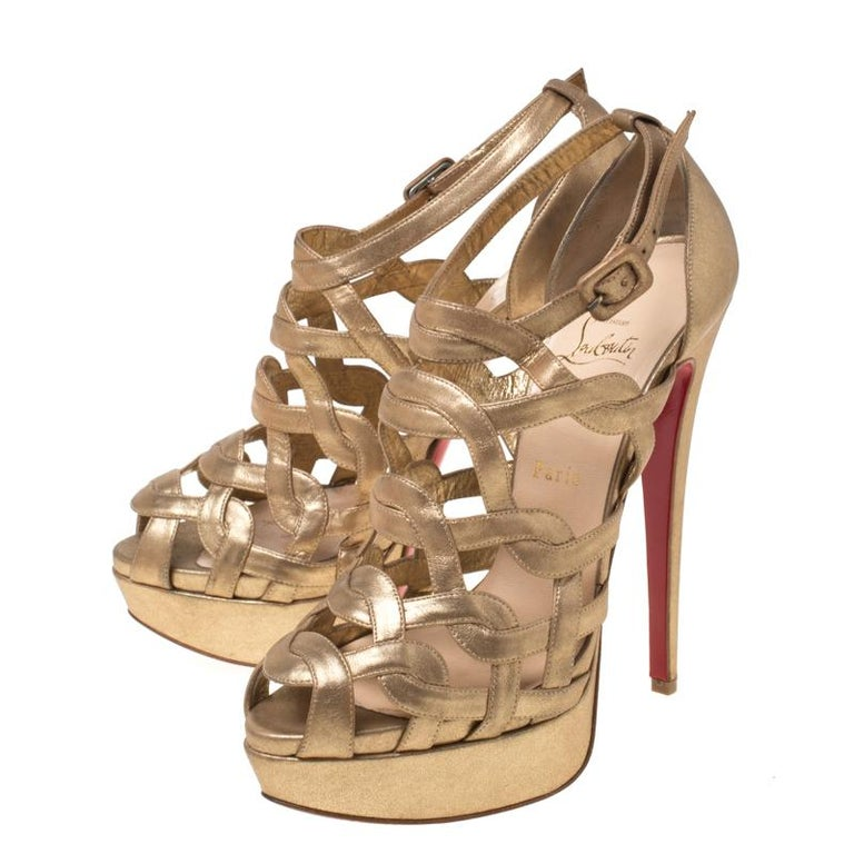 Women's Christian Louboutin Gold Strappy Leather Ankle Strap Platform Sandals Size 39 For Sale