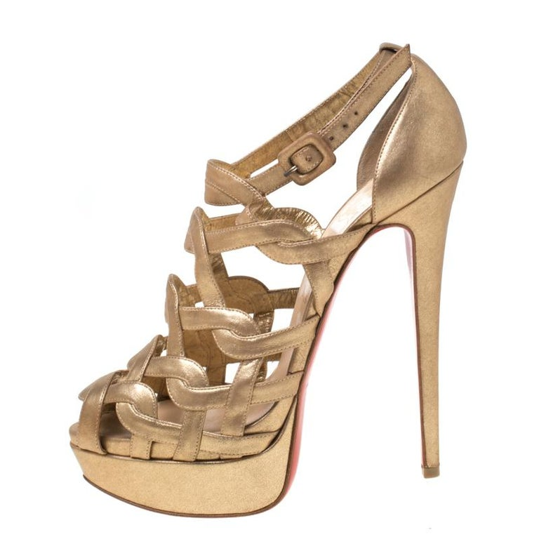 Christian Louboutin Gold Strappy Leather Ankle Strap Platform Sandals Size 39 For Sale 1