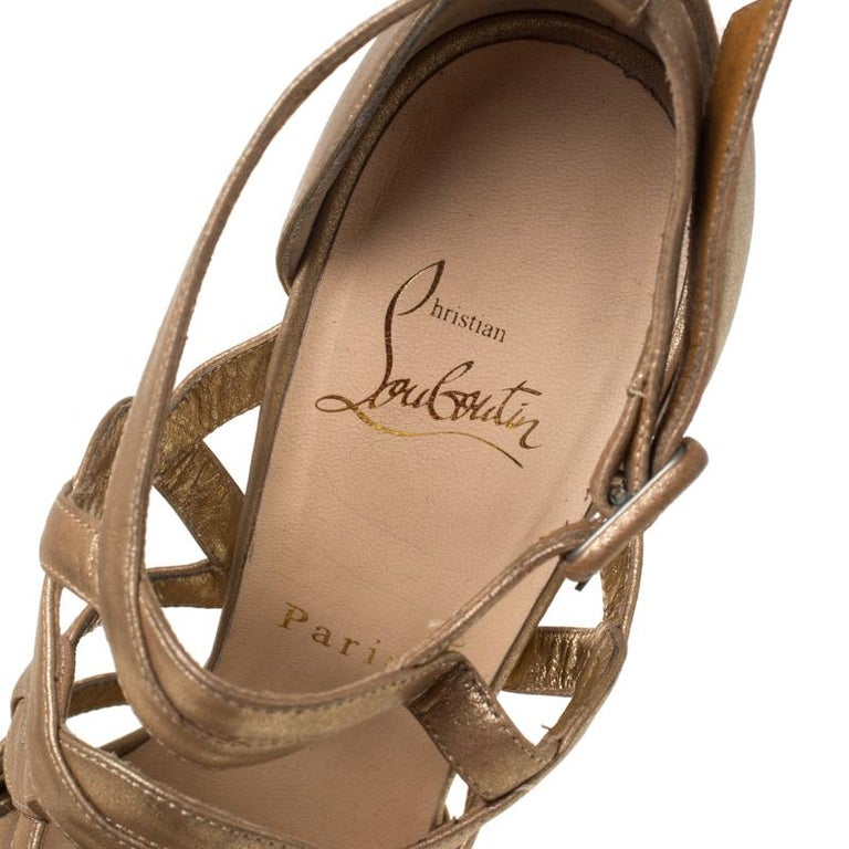 Christian Louboutin Gold Strappy Leather Ankle Strap Platform Sandals Size 39 For Sale 2