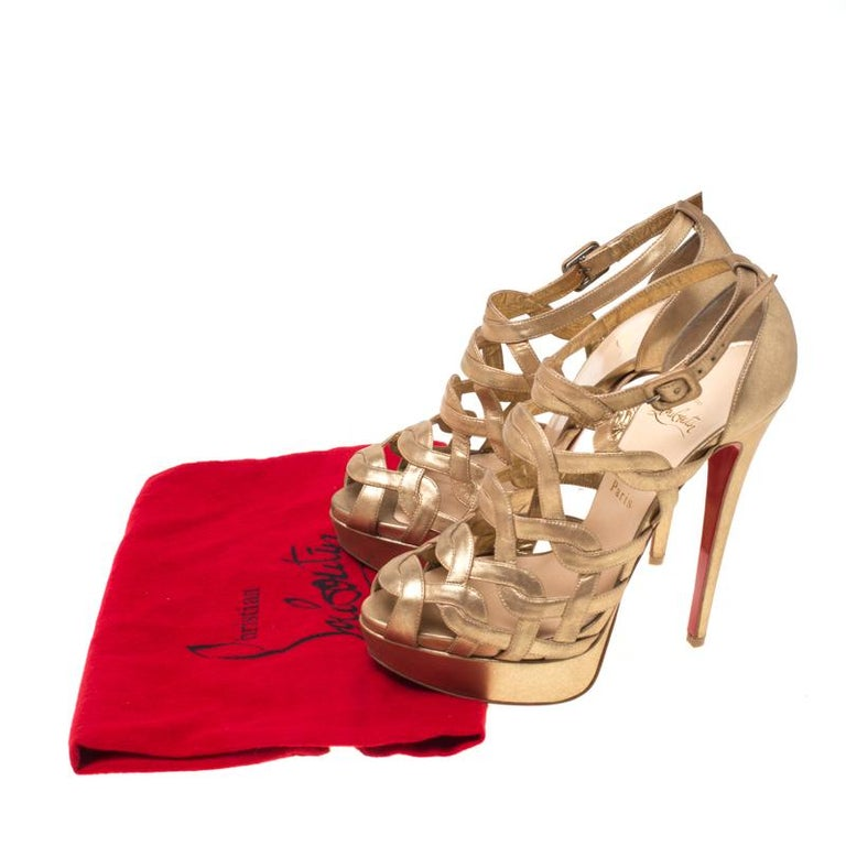 Christian Louboutin Gold Strappy Leather Ankle Strap Platform Sandals Size 39 For Sale 3