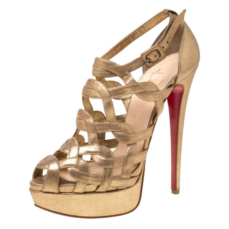 Christian Louboutin Gold Strappy Leather Ankle Strap Platform Sandals Size 39 For Sale