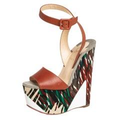Christian Louboutin Green Canvas Tromploia Wedge Platform Sandals Size 35