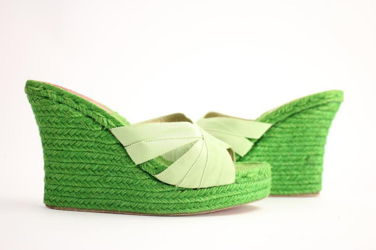 a517b83e1241 Christian Louboutin Green Espadrille Sandals 58cla1014 Wedges For Sale at  1stdibs