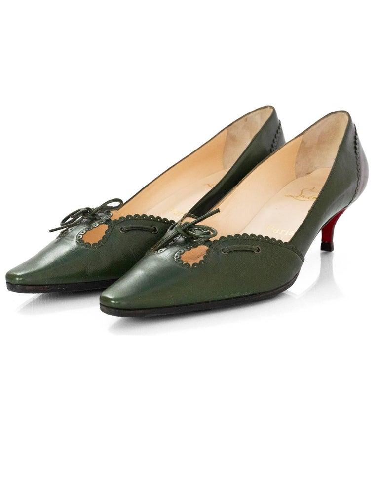 sneakers for cheap 36fe1 c9dcb Christian Louboutin Green Leather Kitten Heels Sz 39.5