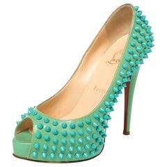 Christian Louboutin Green Patent Lady Peep Toe Spikes Platform Pumps Size 37.5