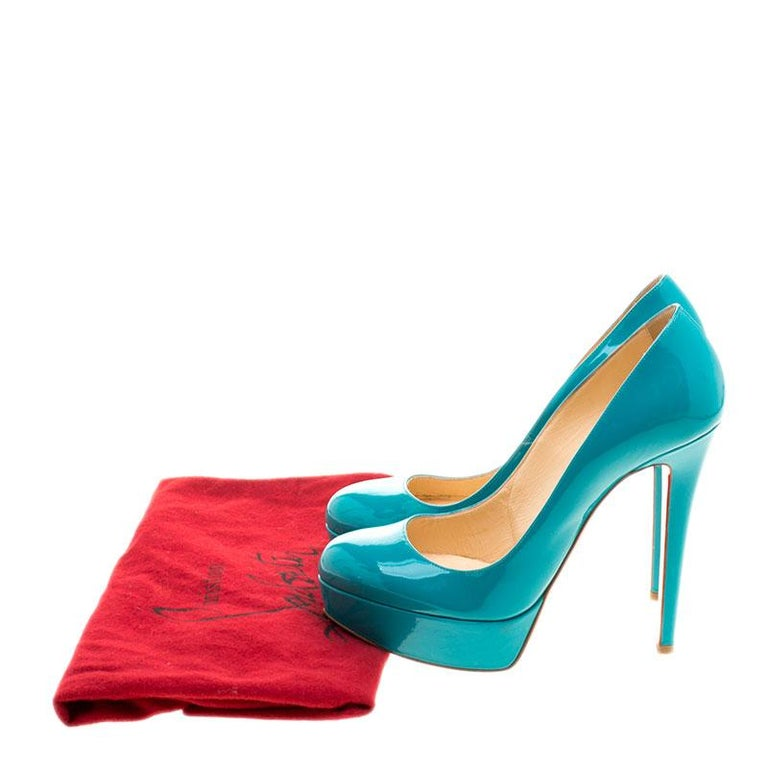 Christian Louboutin Green Patent Leather Bianca Platform Pumps Size 37.5 For Sale 2