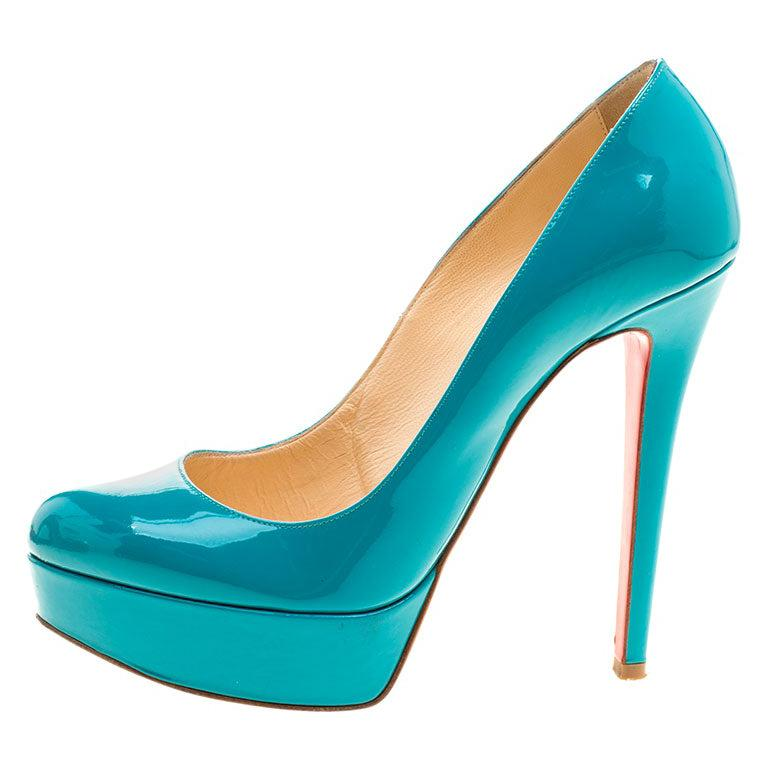 Christian Louboutin Green Patent Leather Bianca Platform Pumps Size 37.5 For Sale