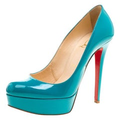 Christian Louboutin Green Patent Leather Bianca Platform Pumps Size 37.5