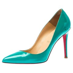 Christian Louboutin Green Patent Leather Pigalle Pointed Toe Pumps Size 40