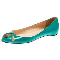 Christian Louboutin Green Patent Leather Un Voilier Peep Toe Flats Size 36.5