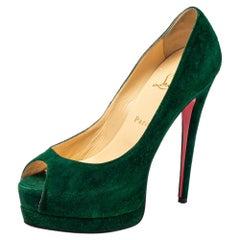 Christian Louboutin Green Suede Lady Peeptoe Pumps Size 38