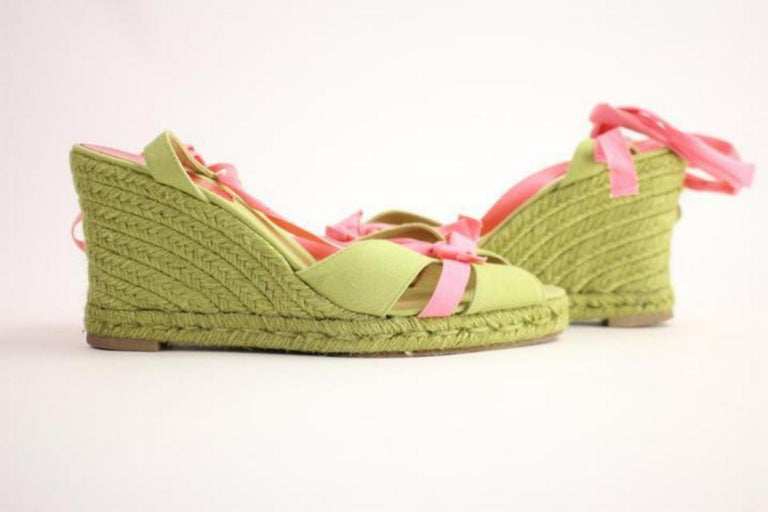 5862150ab05a Christian Louboutin Green X Pink Isabelle Espadrille 60cla1014 Wedges For  Sale 6