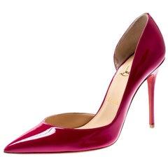 Christian Louboutin Grenadine Patent Leather Iriza D'orsay Toe Pumps Size 38.5