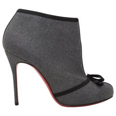 Christian Louboutin Grey & Black Bow Ankle Booties