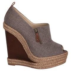 Christian Louboutin Grey & Brown Wool Peep Toe Deroba Wedge Espadrilles (38 EU)