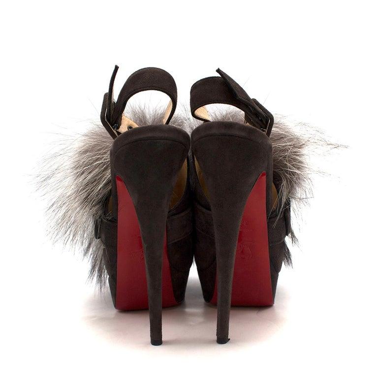 Black Christian Louboutin Grey Fox Fur Splash Slingback Heels US 8.5 For Sale