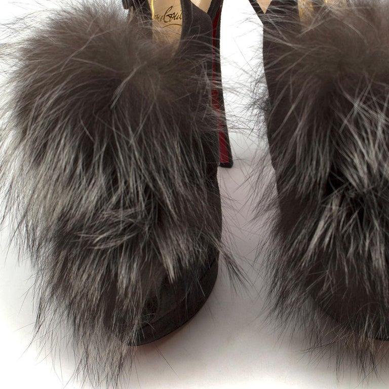 Women's Christian Louboutin Grey Fox Fur Splash Slingback Heels US 8.5 For Sale