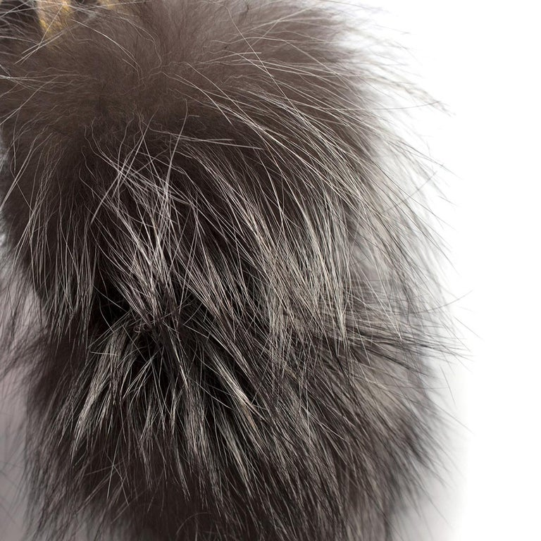Christian Louboutin Grey Fox Fur Splash Slingback Heels US 8.5 For Sale 1
