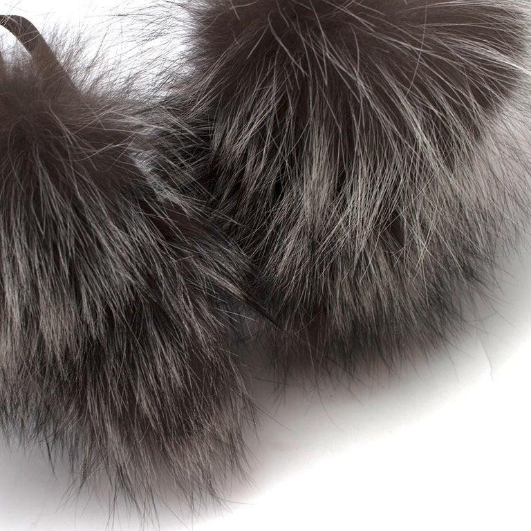 Christian Louboutin Grey Fox Fur Splash Slingback Heels US 8.5 For Sale 4