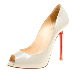 Christian Louboutin Grey Patent Leather Flo Peep Toe Pumps Size 36.5