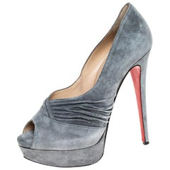 Christian Louboutin Grey Ruched Detail Drapadita Platform Peep Toe Pumps Size 38