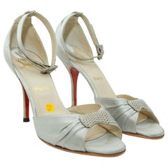 Christian Louboutin Grey Silk Sandals