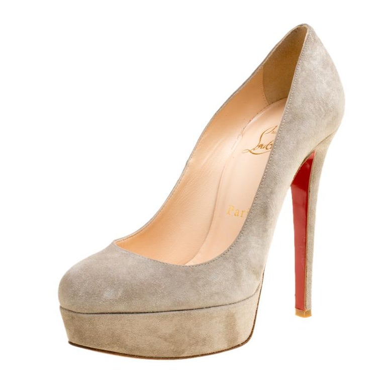 d3266a1cea10 Christian Louboutin Grey Suede Bianca Platform Pumps Size 36 at 1stdibs