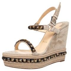 Christian Louboutin Grey Suede Cataclou Wedge Platform Slingback Sandals Size 40
