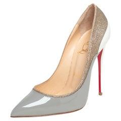 Christian Louboutin Grey/White Glitter, Patent Leather Tucsick Pumps Size 36.5