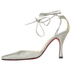 Christian Louboutin Grey Woven Fabric Ankle Strap Heels sz 38