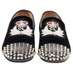 CHRISTIAN LOUBOUTIN Harvanana Flat black velvet CL empire spike loafer EU39.5