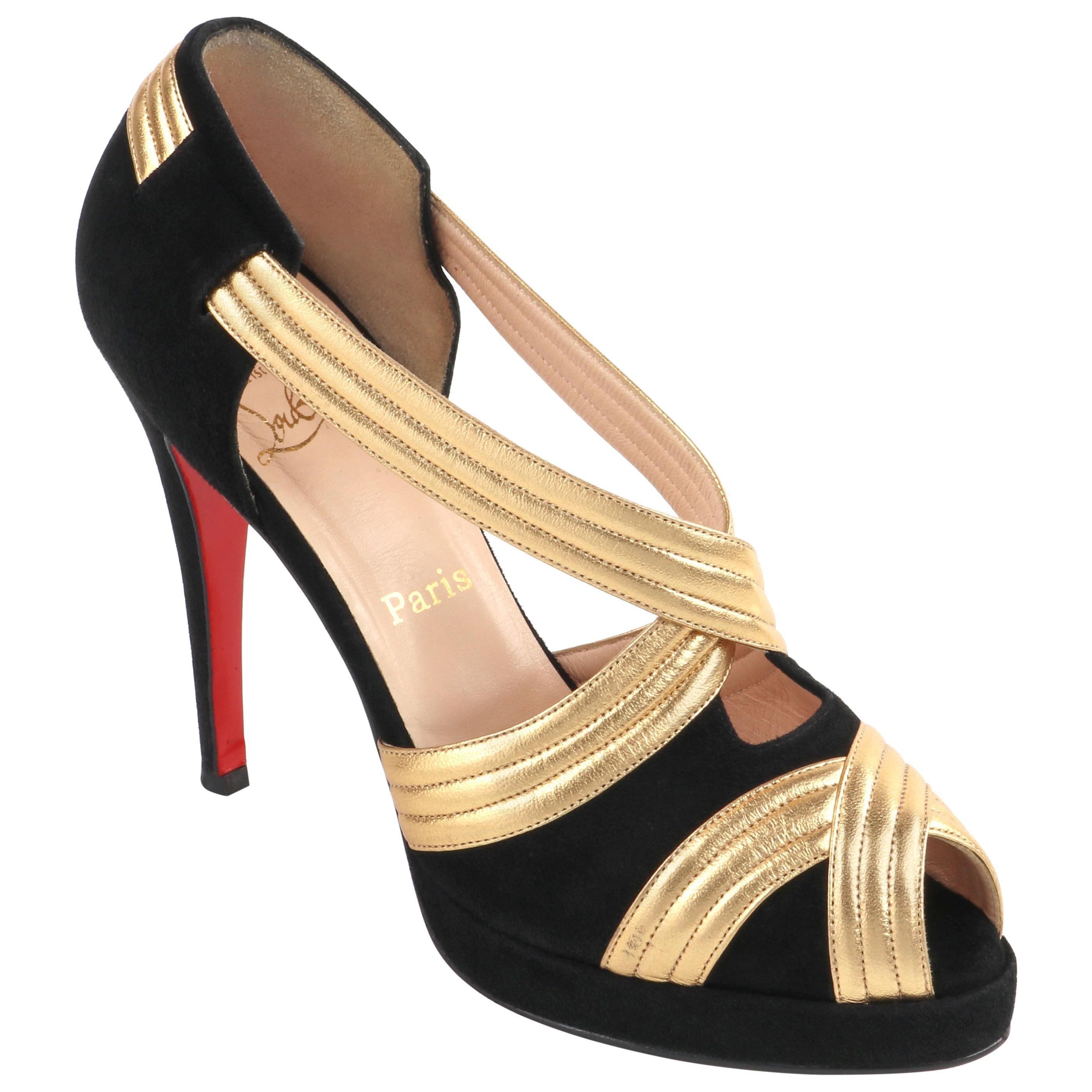 "CHRISTIAN LOUBOUTIN ""Josefa 120"" Suede Leather Peep Toe Platform Pump Heels"