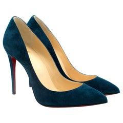 Christian Louboutin Kate 85 Blue Suede Pumps 36 UK3