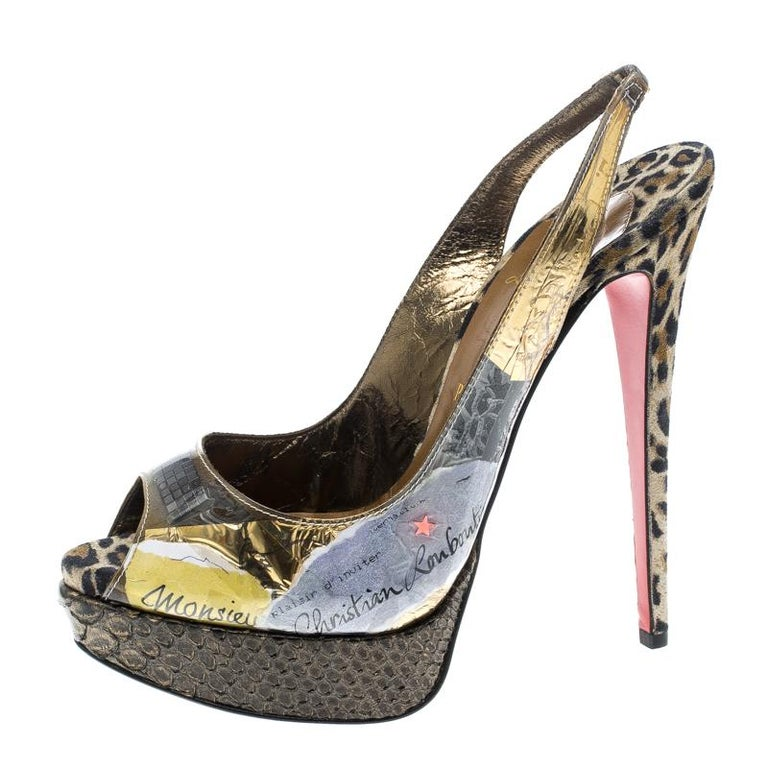 These sandals from Louboutin are a note on eco-friendly fashion. They are crafted from PVC and fabric with prints of trash and designed with peep toes, slingbacks and leopard-printed heels supported by snakeskin platforms.  Includes: The Luxury